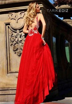 New Collections Designer Sexy A Line Empire Long Red Tarik Ediz Formal 2015 Prom Dress2015