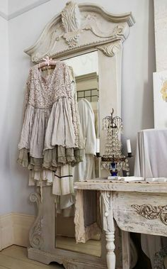 shabby chic dressing aménagement blanc