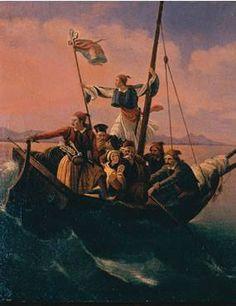 Boat of Greeks  TSOKOS Dionysus (1820-1862)  Oil on canvas 29x23 cm