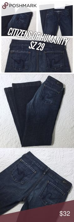 "Citizens of Humanity Sz 29 Dark Designer Jeans These jeans are in really good condition. Size 29 by Citizens of Humanity. They are a darker wash that fades to a lighter wash at the thighs and butt. Very little wear at the bottom of the legs, at the crotch and at the pocket seams. Cut # 6469 Style# 003-001. 33 & 1/2"" inseam. 41"" outseam. Citizens of Humanity Jeans"