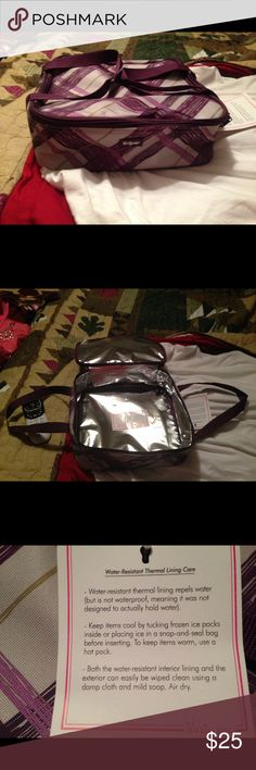 NWT Thirty-one Perfect Potluck Square Thermal Plum Plaid design...new still has tag...is square and thermal thirty-one Bags Totes