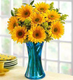 """Yellow + blue glass = mega cheerful. """"Golden Sunflower Medley"""" bouquet."""
