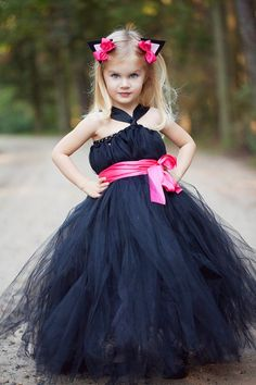 Navy blue and pink flower girl dress for