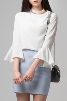 #mixxmix  Bell Sleeve Choker Blouse (BWIA) Upgrade your casual look by donning this elegant ivory blouse.