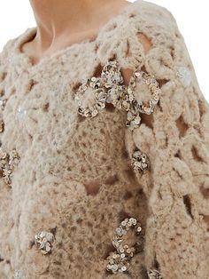 Brunello Cucinelli Embellished Floral Crochet Sweater   SaksFifthAvenue