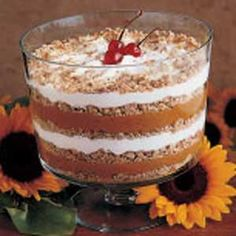 Pumpkin Trifle. From Country Woman 1993. A great alternative to pumpkin pie at Thanksgiving. I use homemade gingerbread. I have substituted Cool-Whip for the whipping cream. For a company Christmas party one year I took this and Lemon Trifle-used spice cake, no pumpkin or spices; and Chocolate Trifle-used spice cake, no pumpkin or spices. All three went over very well!