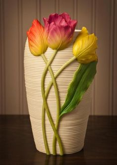 Three Tulips Table Vase click now for more info. Glass Bottle Crafts, Bottle Art, Pottery Painting Designs, Pottery Art, Ceramic Pottery, Clay Wall Art, Clay Vase, Clay Pots, Tulip Table