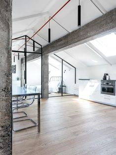 The intervention is a recovery of an attic of a building in Turin whose final intention of the client is a main use for Airbnb. Dormer Windows, Big Windows, Concrete Structure, Building Structure, Apartment Renovation, Apartment Interior Design, Metal Beam, Keep The Lights On, Turin Italy