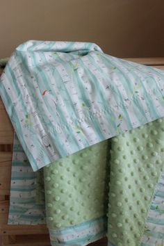 Snuggle Blanket  Birch Forest Trees  pram size minky by LukaMish, $40.00 #blanket #baby #woodland #neutral #sage