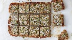 These delicious sugar-free granola bars make the perfect snack. They're packed full of protein and good fats to keep you satiated in between meals. Via Sarah Wilson I Quit Sugar Sugar Free Cereal, Sugar Free Granola, Healthy Bars, Healthy Baking, Healthy Snacks, Healthy Recipes, Eating Healthy, Snack Recipes, Sugar Free Desserts