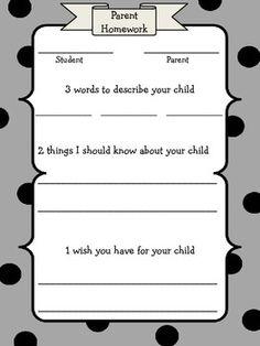 Parent Homework for Open House Parent Teacher Interviews, Meet The Teacher, Beginning Of School, Back To School, Open House Kindergarten, School Events, Parents As Teachers, Words To Describe, Get To Know Me