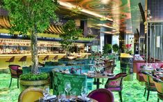 A green floor covered in semi-precious stones is the focal point of London restaurant The Ivy Asia, designed in collaboration with Adam Ellis Studio. Asia Restaurant, Restaurant Ideas, Asian Fabric, Night Bar, House Front Design, Beautiful Sites, London Restaurants, London Art, Light Installation