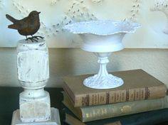 Vintage Upcycled Wedding White Lacey Metal Pedestal Dish