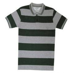 da24311a Tee Talkies Authentic Polo T Shirt – Green and Melange Stripes Polo T-Shirt  Green & Grey Melange Stripes Fine Jersey Fabric Half Sleeve Comfort fit  Cotton