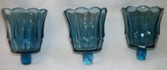 Home Interiors HOMCO 3 TULIP STARLIGHT BLUE Votive Cups Sconce Candle Holders