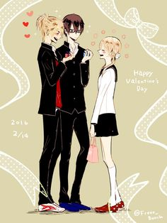 "Prince of Stride Yagami Riku & Fujiwara Takeru x Sakurai Nana ""Happy Valentine's"" by 自由帳 on pixiv Prince Of Stride Alternative, Ryota Kise, Baseball Anime, My Candy Love, Shall We Date, Hisoka, Parkour, Cute Characters"