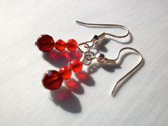 50 OFF Valentine earrings red crystal earrings red by StarJewels, $5.00