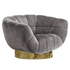 European Modern Cotton Velvet and Brass Essex Armchair from Brabbu 1