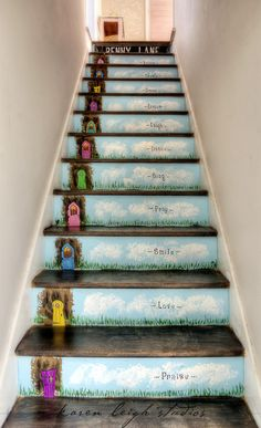 My Fairy Stairs, hand painted by me.  Fairy doors available at https://www.etsy.com/shop/ParisCabinet