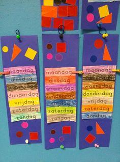 Welke dag is het vandaag? Clock Craft, Kindergarten, Teaching, Education, Creative, Fun, Crafts, Calendar, Manualidades