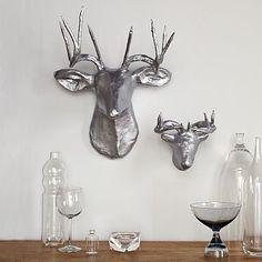 silver paper maché deer