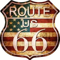 American Flag Vintage Look Route 66 Metal Novelty Highway Shield Sign Route 66 Usa, Route 66 Sign, Route 66 Road Trip, Route 66 Decor, Vintage Metal, Vintage Signs, Vintage Posters, Harley Davidson Wallpaper, Novelty License Plates