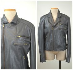 Letty | Vintage 80s Gray Leather Motorcycle Jacket | 1980s Cafe Racer Coat by RevengeOfTheDress on Etsy