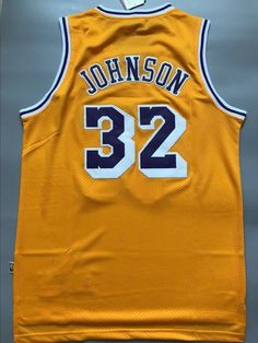 0632edd20 Men 32 Magic Johnson Jersey Yellow Los Angeles Lakers Fanatics Swingman