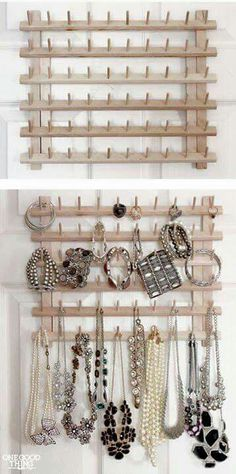 From Thread Rack To Jewelry Organizer. A super simple idea to repurpose the wood. - From Thread Rack To Jewelry Organizer. A super simple idea to repurpose the wooden thread rack into - Jewellery Storage, Jewellery Display, Jewelry Box, Jewelry Armoire, Jewelry Ideas, Gold Jewellery, Jewellery Shops, Glass Jewelry, Jewelry Closet