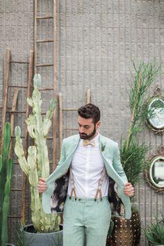 Greenery Botanical Wedding – [pin_pinter_full_name] Greenery Botanical Wedding Conservatory Cactus Green Foliage Groom Green Suit Braces Suspenders Italian Green Wedding Suit, Vintage Wedding Suits, Summer Wedding Attire, Italian Wedding Dresses, Vintage Groom, Summer Groom Suit, Summer Wedding Men, Best Wedding Suits, Modern Groom