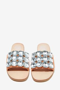 Jeffrey Campbell Darjana Jeweled Suede Slide - Shoes | Flats | Jeffrey Campbell