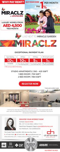 MIRACLZ BY DANUBE PROPERTIES. Starting from AED 4,500 per month. Studio, 1 and 2 Bedroom options available. 1% per month. Fully furnished apartments – Live Next to Miracle Gardens Dubai.  CONTACT DANUBE PLATINUM AGENT Toll Free: 800 37373 | Hotline: +971 52 542 3002 www.drehomes.com | marketing@drehomes.com  #Miraclz #MiraclzByDanube #Danube #Arjan #ArjanApartments #MiracleGarden #FurnishedApartments #DrehomesRealEstate #Drehomes #MyDubai #InvestNow Fully Furnished Apartments, Miracle Garden, Studio Apartment, Luxury Homes, Dubai, Gardens, Real Estate, Marketing, How To Plan