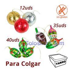 FIGURAS ARBOL CHOCOLATE son divertidos figuras para decorar el ARbol de Navidad con chocolate: 12 bolas de 26gr, 35 piezas de 11.5gr y 40 piezas de 8.4gr. Se vende tarro de 87 unidades.