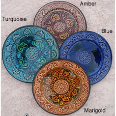 @Overstock - Add exotic flair to your home decor with an engraved ceramic plate  Each decorative plate measures 9 inches in diameter x 2 inches deep   Home accessory available in Mediterranean blue, marigold, amber and turquoise color optionshttp://www.overstock.com/Worldstock-Fair-Trade/Petite-Royale-Engraved-Ceramic-Plate-Morocco/3017704/product.html?CID=214117 $44.99