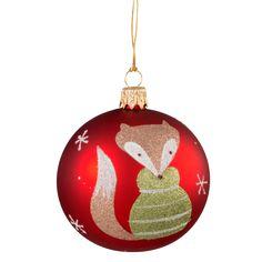 Weihnachtswelt Kugel rot mit Fuchs, 7 cm