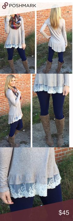 NEWLace Taupe Tunic Gorgeous new lace long sleeved tunic. Material is 98% Rayon and 2% spandex for added comfort. Pair with the Navy Brushed Knit leggings in my closet for a stylish outfit. Prices are firm unless bundled where discounts may apply Bellamisu Boutique Tops Tunics