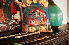 Tales of gold Embroidered Cushions, Illuminated Manuscript, The World's Greatest, Old World, Miniatures, Museum, Stitch, Pillows, Cali