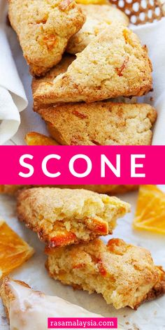 Baking Tips, Baking Ideas, Sweet Desserts, Delicious Desserts, Best Scone Recipe, Cake Recipes, Dessert Recipes, Orange Scones, Rasa Malaysia