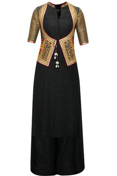 TISHA SAKSENA Black cotton kurta set with embroiderd jacket koti available only at Pernia's Pop-Up Shop. Salwar Designs, Blouse Designs, Pakistani Dresses, Indian Dresses, Indian Outfits, Indian Attire, Indian Wear, Anarkali, Lehenga