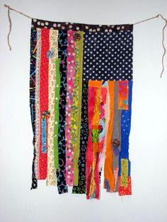 Colorful Fabric Scrap Flag wall hanging garden flag by cbtdesign