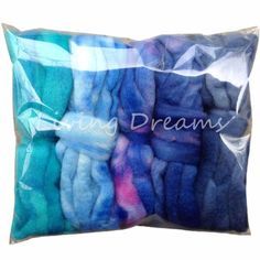 SAVE BIG on 5 oz (150g) DISCOUNT PACK of US hand dyed BFL Roving by Living Dreams! 5 beautiful gradient colors in a handsome gift package - our most popular product for BEGINNING SPINNERS.  Each pack contains 5 exciting, variegated shades of color (1oz each). Each hand dyed wool