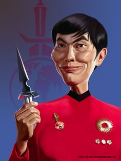 Painting of the Mirror Universe Mr. Sulu from Star Trek. This was painted as an exclusive print for the Takei Back the Night charity Funny Caricatures, Celebrity Caricatures, Mirror Universe, Star Trek Images, Caricature Drawing, Star Trek Universe, Star Trek Tos, Cartoon Shows, Funny Art