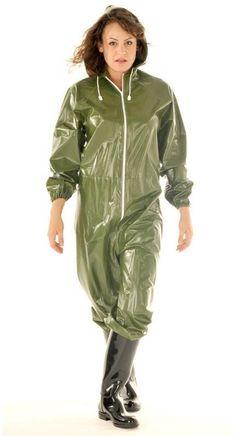 PVC Full Body Suit Adult Plastic Waterproof One Piece Hood Tracksuit