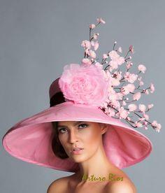 Pink Brown derby hat Kentucky Derby Hat Couture Hat by ArturoRios