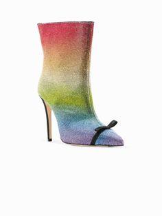 rainbow rhinestone embellished boots   Marco De Vincenzo   Eraldo.com Me Too Shoes, Peep Toe, Rainbow, Boutique, Heels, Boots, Shopping, Color, Fashion