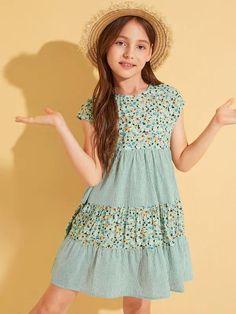 Girls Ditsy Floral & Striped Layered Hem Dress Frocks For Girls, Kids Frocks, Little Girl Dresses, Girls Dresses, Summer Dresses, The Dress, Baby Dress, Frock Design, Dress Patterns