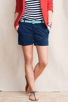 Navy Skirt, Stripe T, Red Cardigan & Aqua Belt