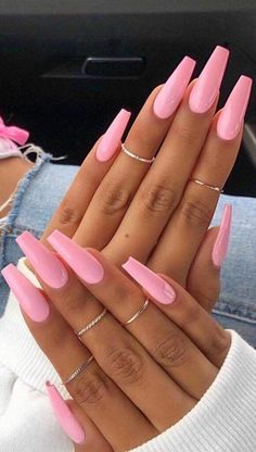 48 Pretty Acrylic Coffin Nails Design You Need To Try - Pretty nails - - cute acrylic nails Simple Acrylic Nails, Square Acrylic Nails, Pink Acrylic Nails, Acrylic Nail Art, Square Nails, Summer Acrylic Nails Designs, Cute Summer Nail Designs, Pink Nail Designs, Pink Acrylics