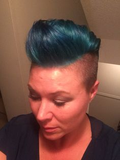 Teal / turquoise Mohawk short hair