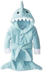 """Your little bundle of joy will love being wrapped up in the Baby Aspen """"Let the Fin Begin"""" Blue Terry Shark Robe after bath time!"""